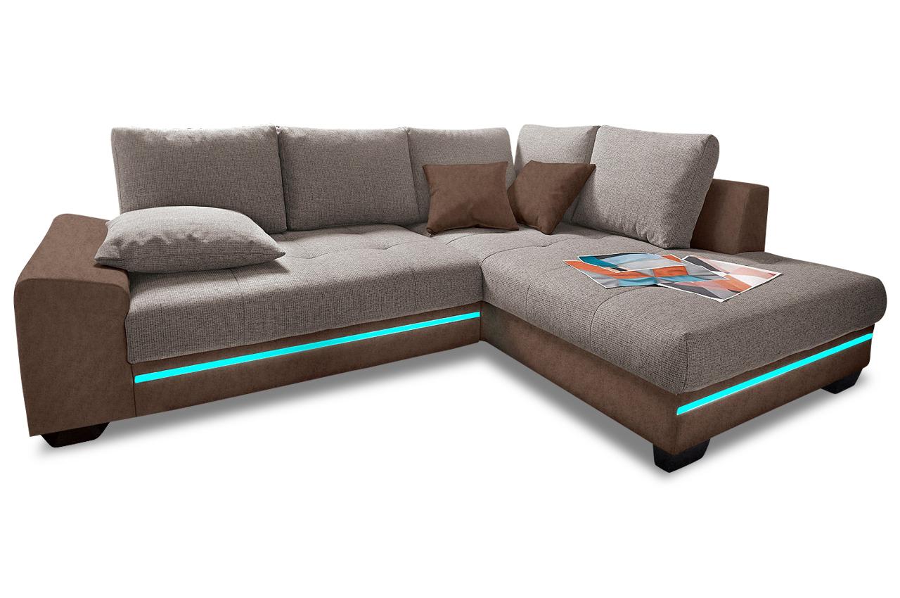 ecksofa xl nikita mit led und schlaffunktion braun sofas zum halben preis. Black Bedroom Furniture Sets. Home Design Ideas