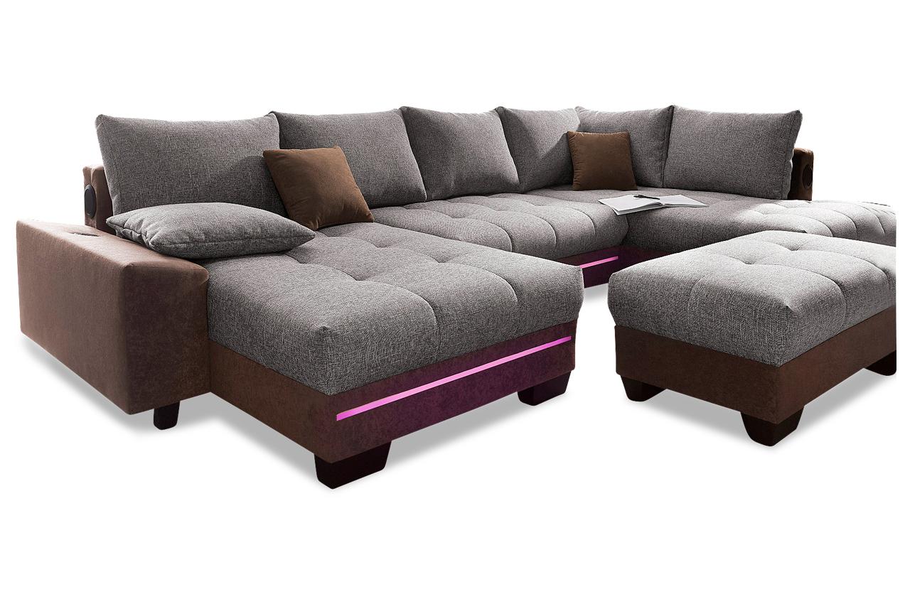 wohnlandschaft nikita mit led und schlaffunktion braun sofas zum halben preis. Black Bedroom Furniture Sets. Home Design Ideas