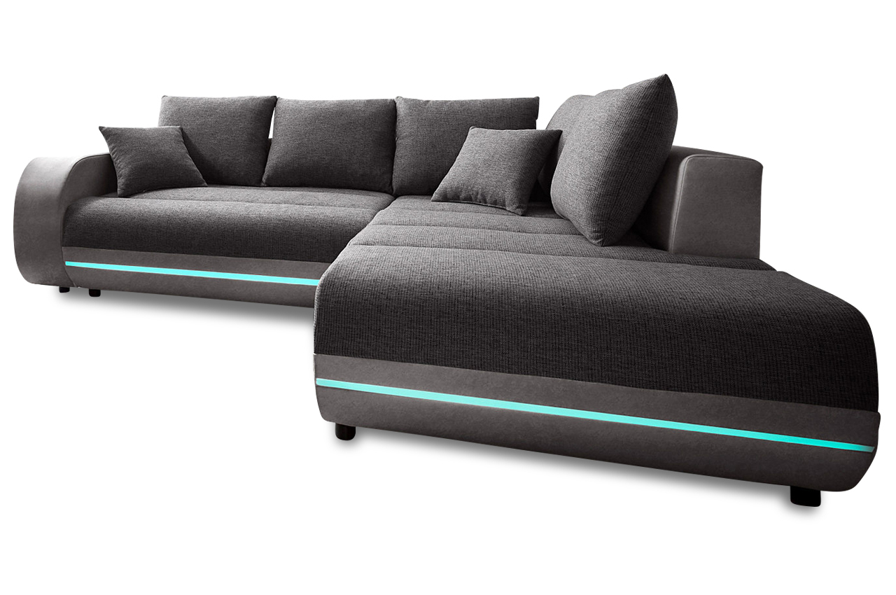 ecksofa xl trento xl mit led und sound anthrazit sofas zum halben preis. Black Bedroom Furniture Sets. Home Design Ideas