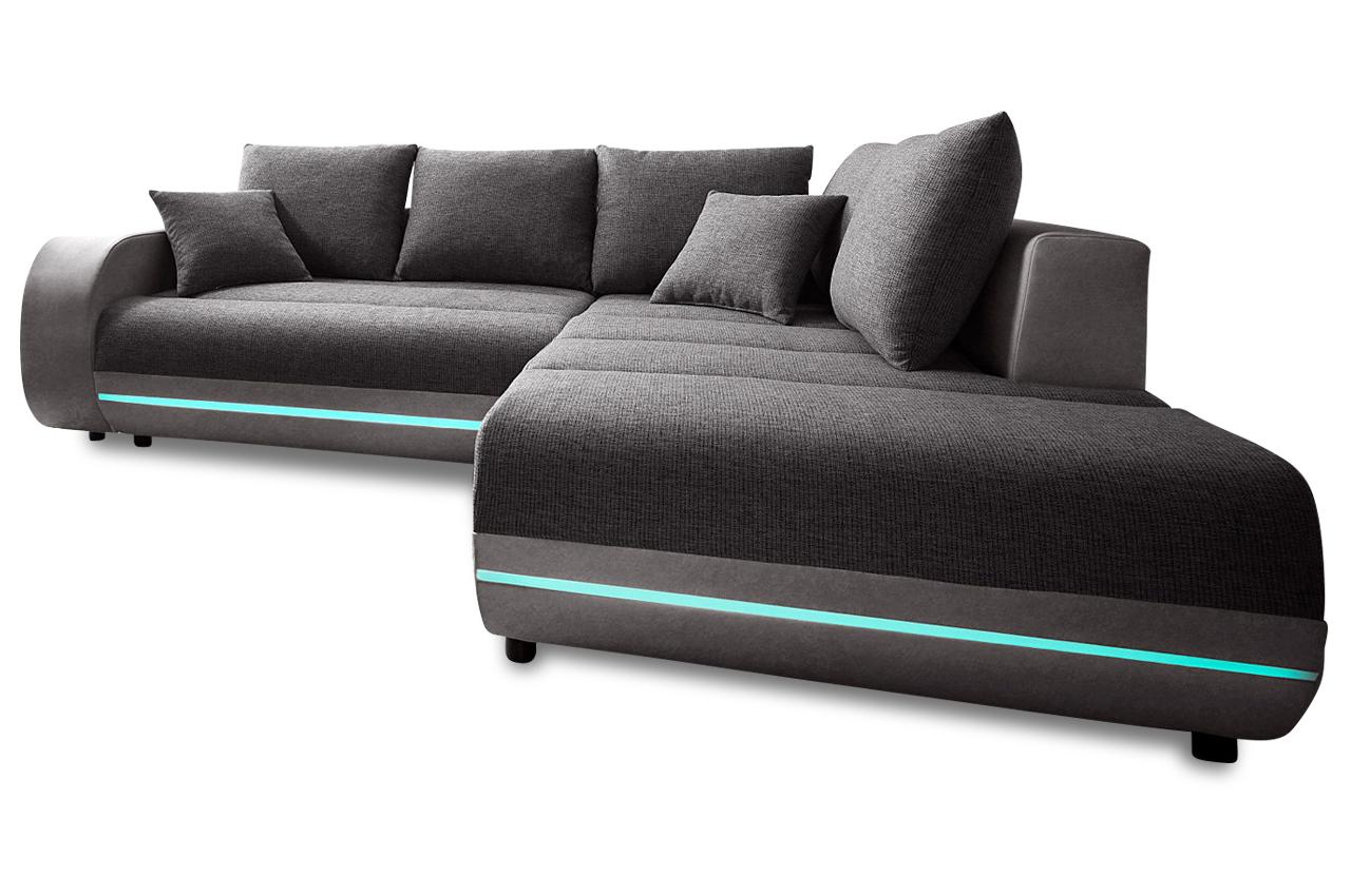 ecksofa xl trentino mit led und sound anthrazit. Black Bedroom Furniture Sets. Home Design Ideas