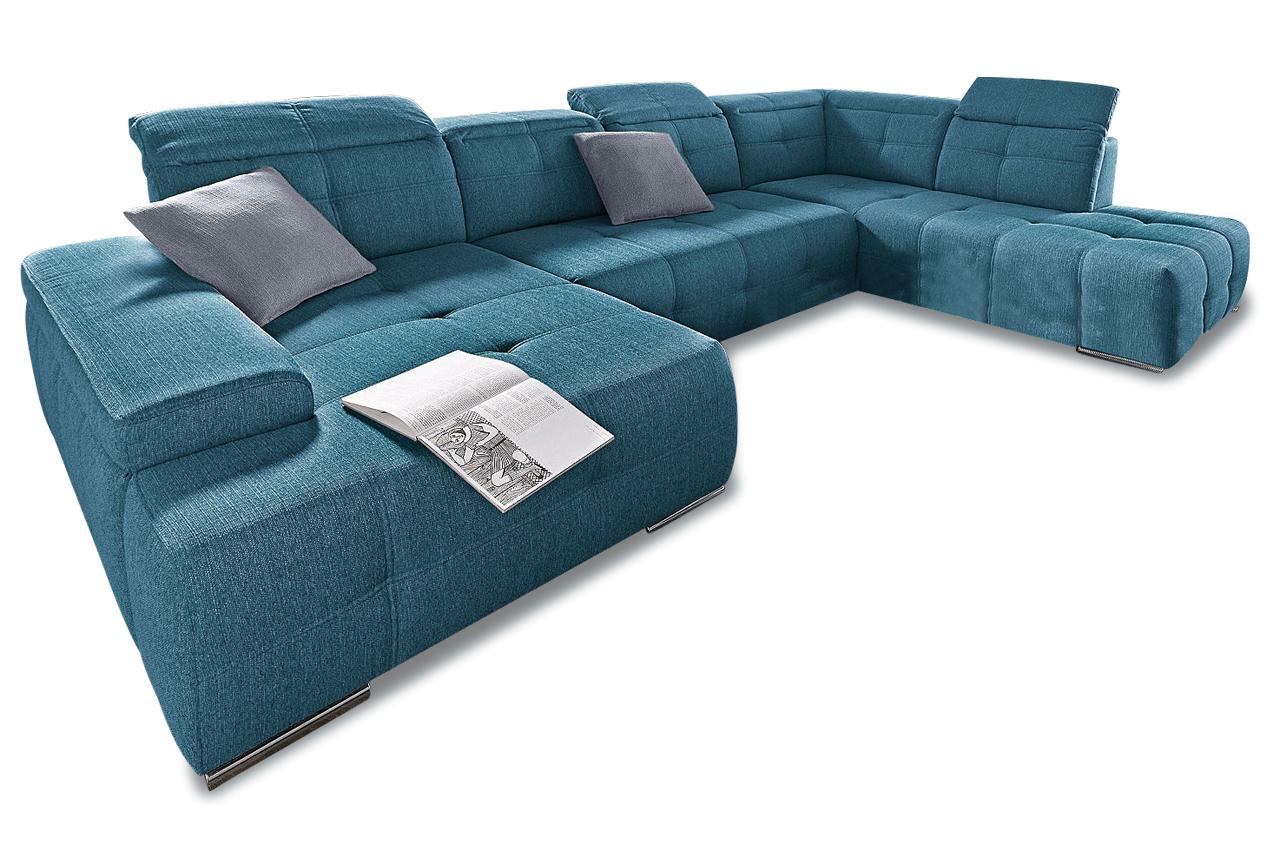 Wohnlandschaft mistral blau sofas zum halben preis for Wohnlandschaft blau