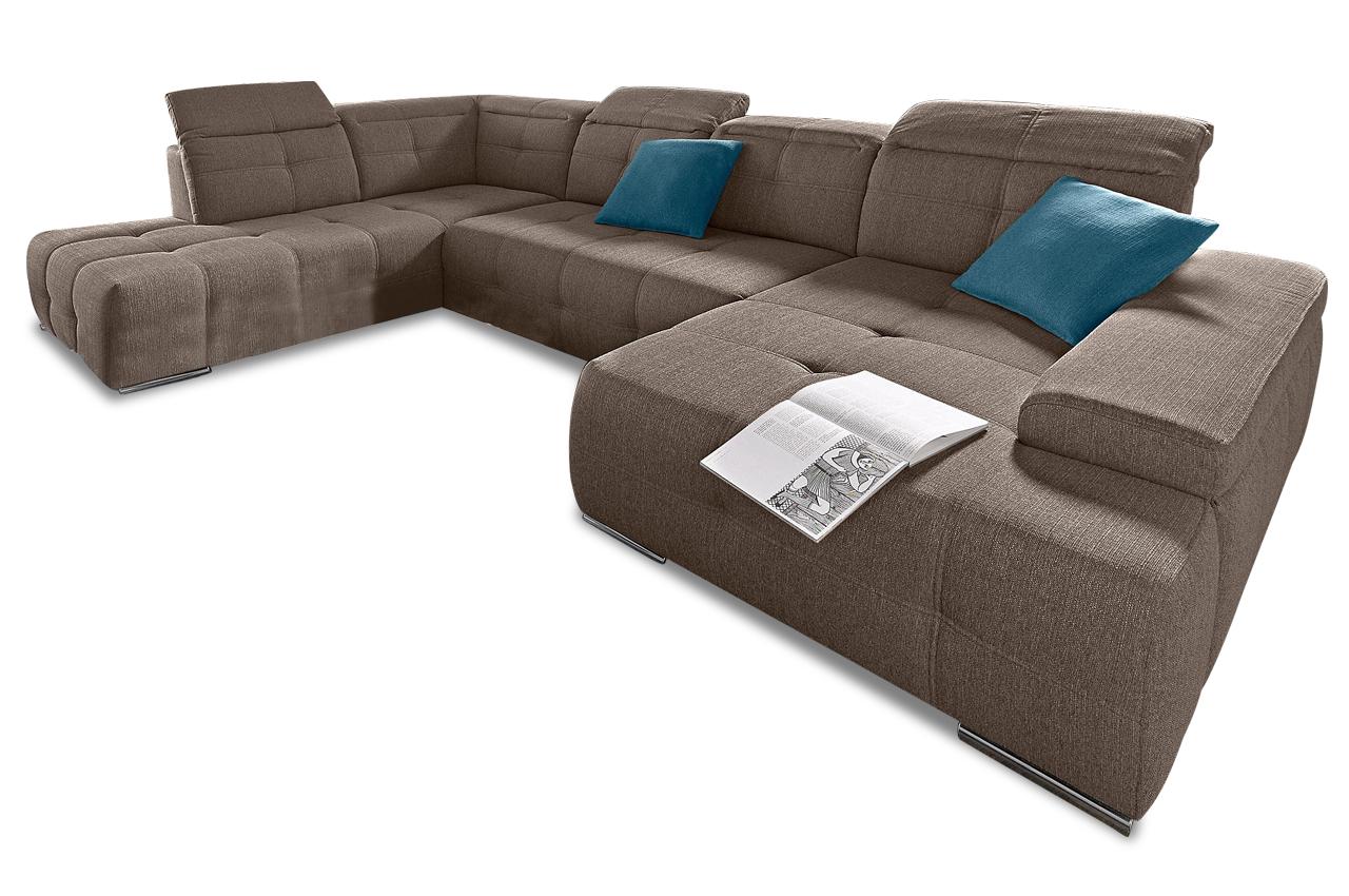 wohnlandschaft mistral mit schlaffunktion braun sofas zum halben preis. Black Bedroom Furniture Sets. Home Design Ideas