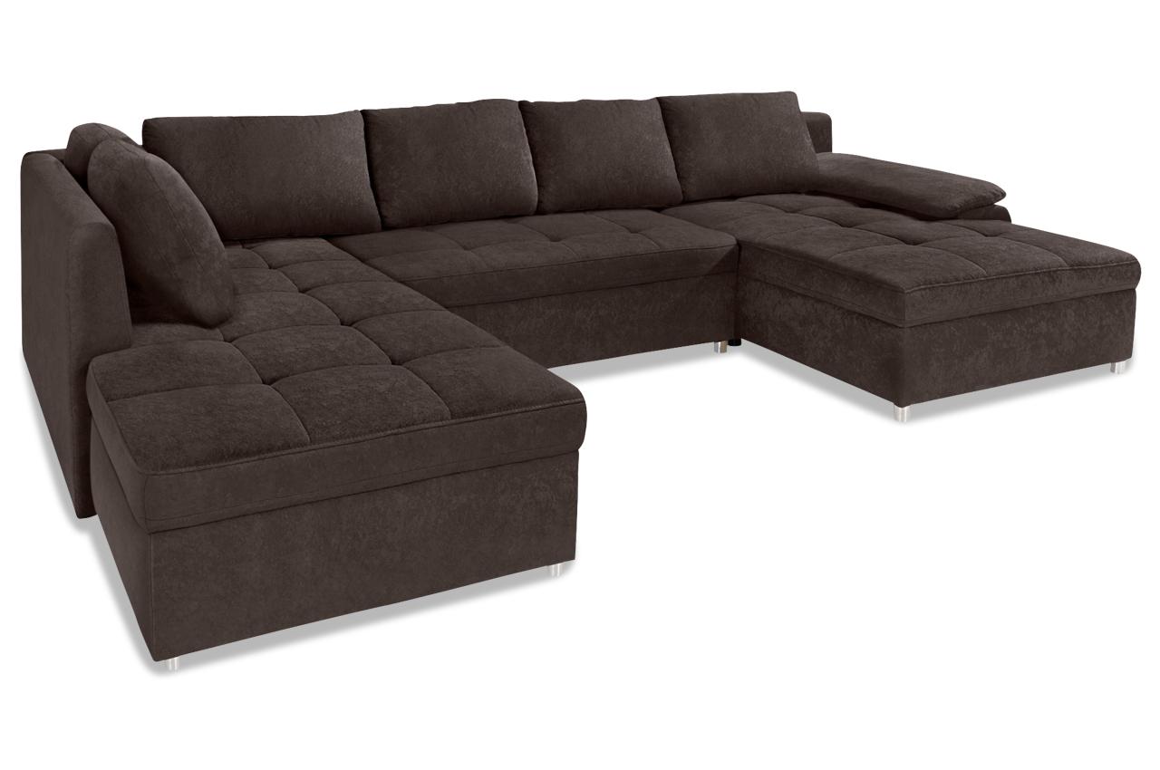 Wohnlandschaft labene mit bett stoff sofa couch ecksofa for Sofa bett kombination