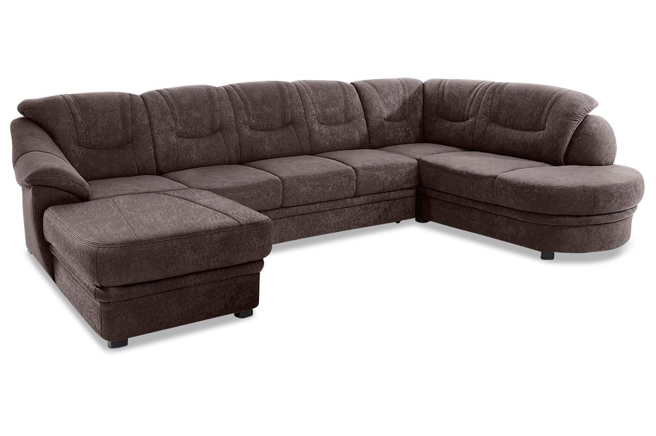 wohnlandschaft savoni braun mit federkern sofa couch. Black Bedroom Furniture Sets. Home Design Ideas