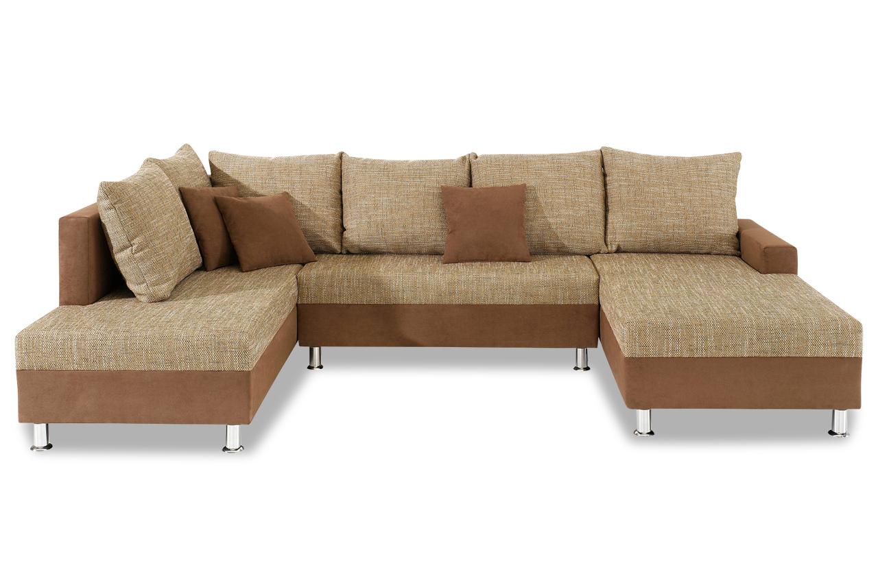 Wohnlandschaft maxi mit schlaffunktion braun sofa for Wohnlandschaft ebay