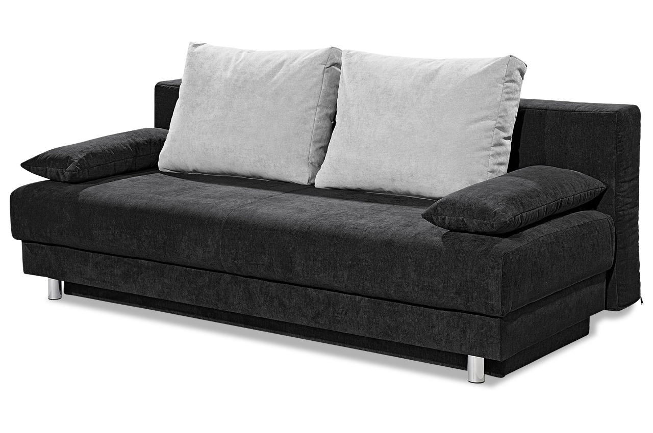 sofa team 3er sofa 178 mit schlaffunktion schwarz mit. Black Bedroom Furniture Sets. Home Design Ideas