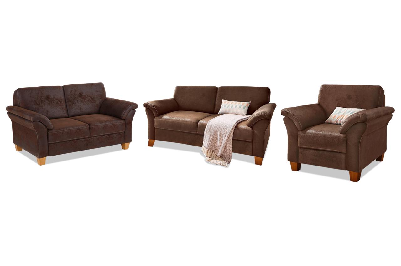 garnitur 3 2 1 braun sofas zum halben preis. Black Bedroom Furniture Sets. Home Design Ideas