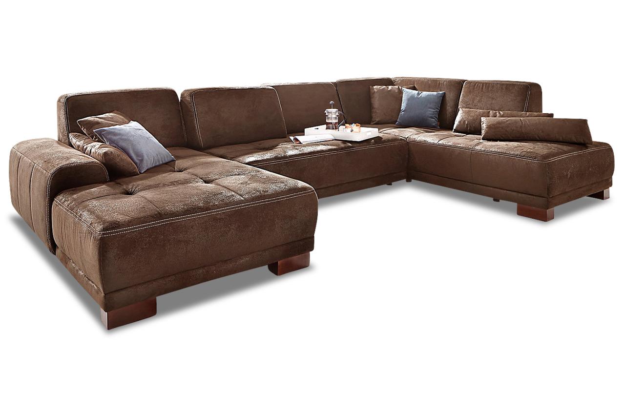 Wohnlandschaft mit sitzverstellung braun sofas zum for Wohnlandschaft braun