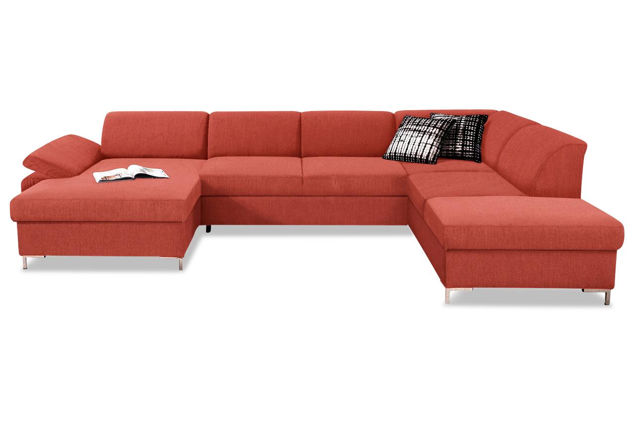 wohnlandschaft santana mit schlaffunktion rot mit federkern sofas zum halben preis. Black Bedroom Furniture Sets. Home Design Ideas