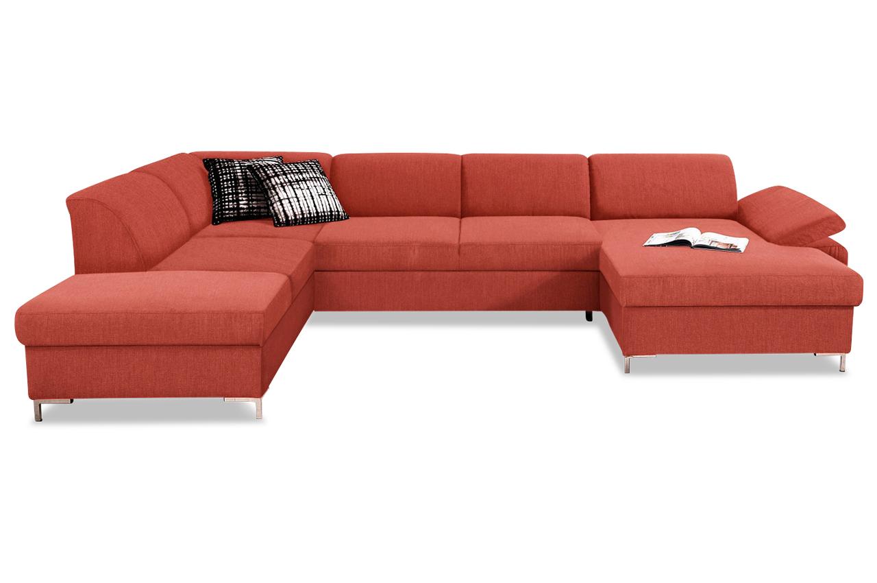 Wohnlandschaft santana mit bett stoff sofa couch ecksofa for Bett mit couch