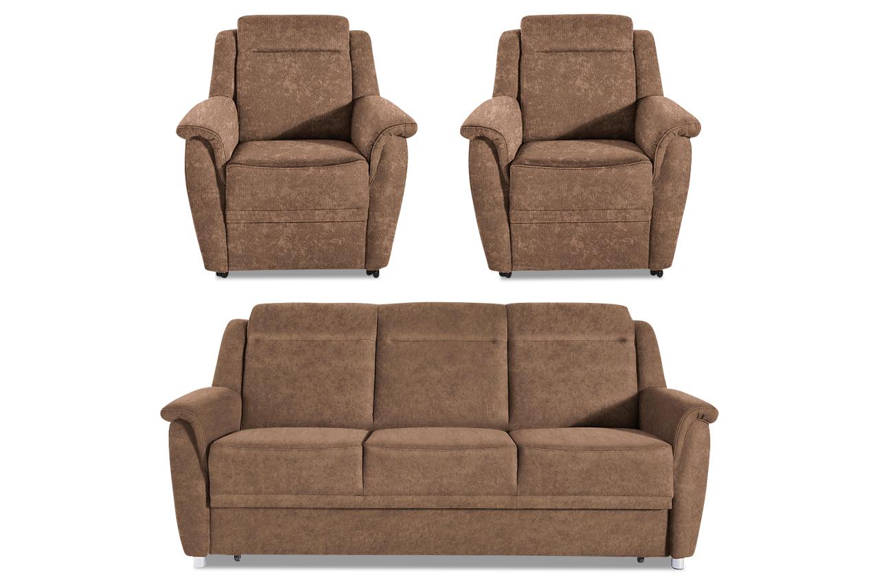 garnitur 3 1 1 mit schlaffunktion braun mit federkern sofas zum halben preis. Black Bedroom Furniture Sets. Home Design Ideas