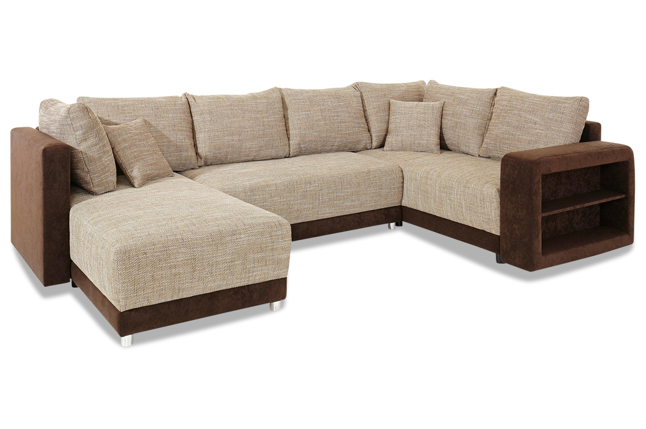 Wohnlandschaft mit schlaffunktion braun sofas zum for Wohnlandschaft cappuccino