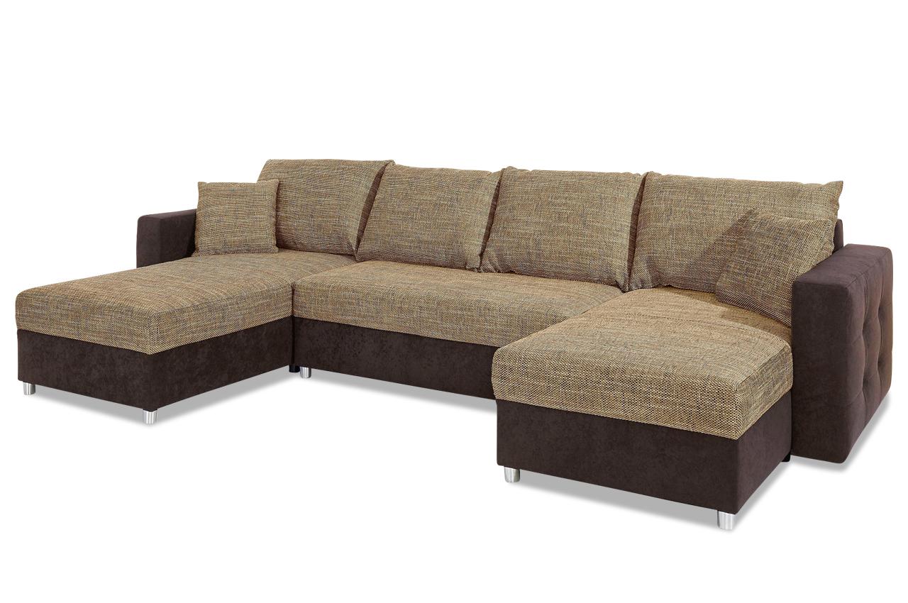 Wohnlandschaft caro mit schlaffunktion braun sofa for Wohnlandschaft ebay