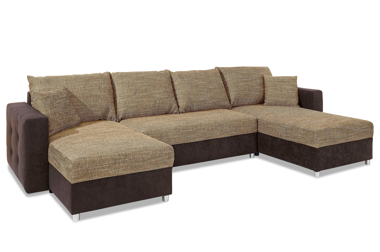 Sit more wohnlandschaft caro mit bett stoff sofa couch for Sofa bett kombination