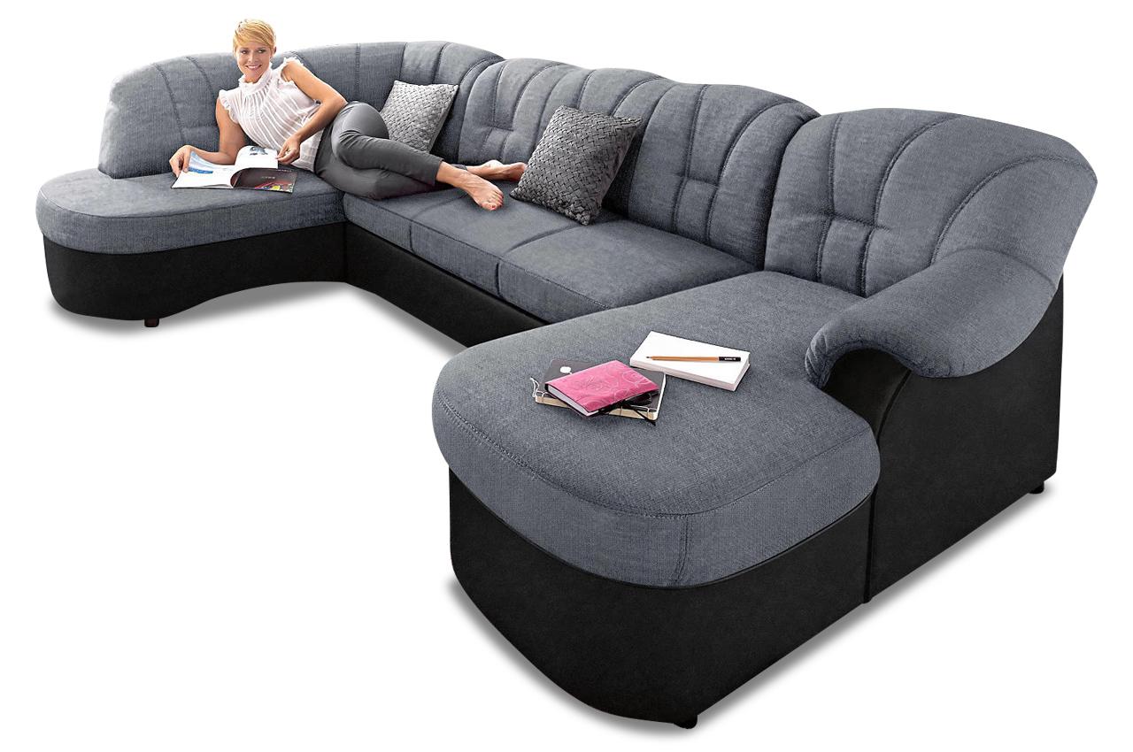 wohnlandschaft flores mit schlaffunktion grau sofas zum halben preis. Black Bedroom Furniture Sets. Home Design Ideas
