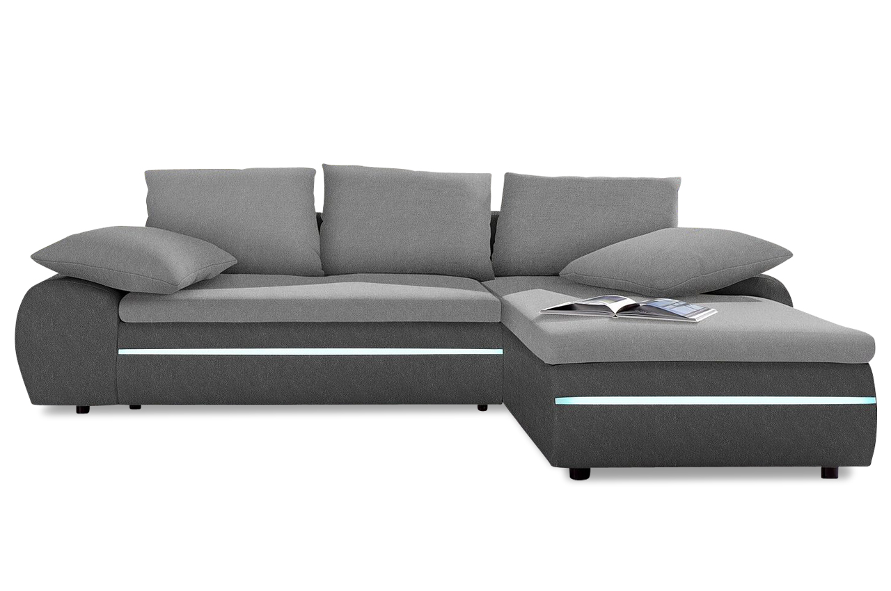 nova via ecksofa xl bahia mit led grau sofa couch ecksofa ebay. Black Bedroom Furniture Sets. Home Design Ideas