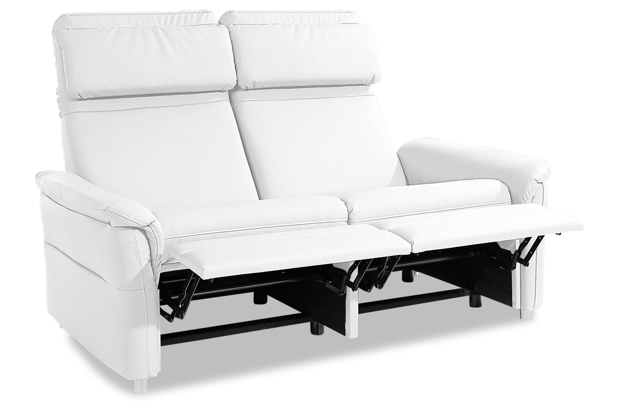 3er sofa chelsey mit relax weiss mit federkern sofa couch ecksofa ebay. Black Bedroom Furniture Sets. Home Design Ideas