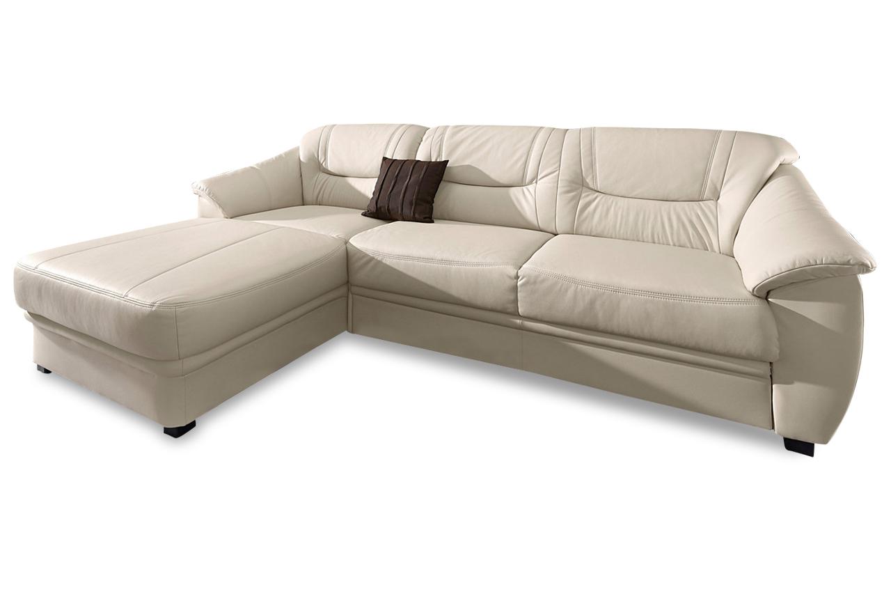 leder ecksofa savona mit schlaffunktion creme mit federkern sofas zum halben preis. Black Bedroom Furniture Sets. Home Design Ideas
