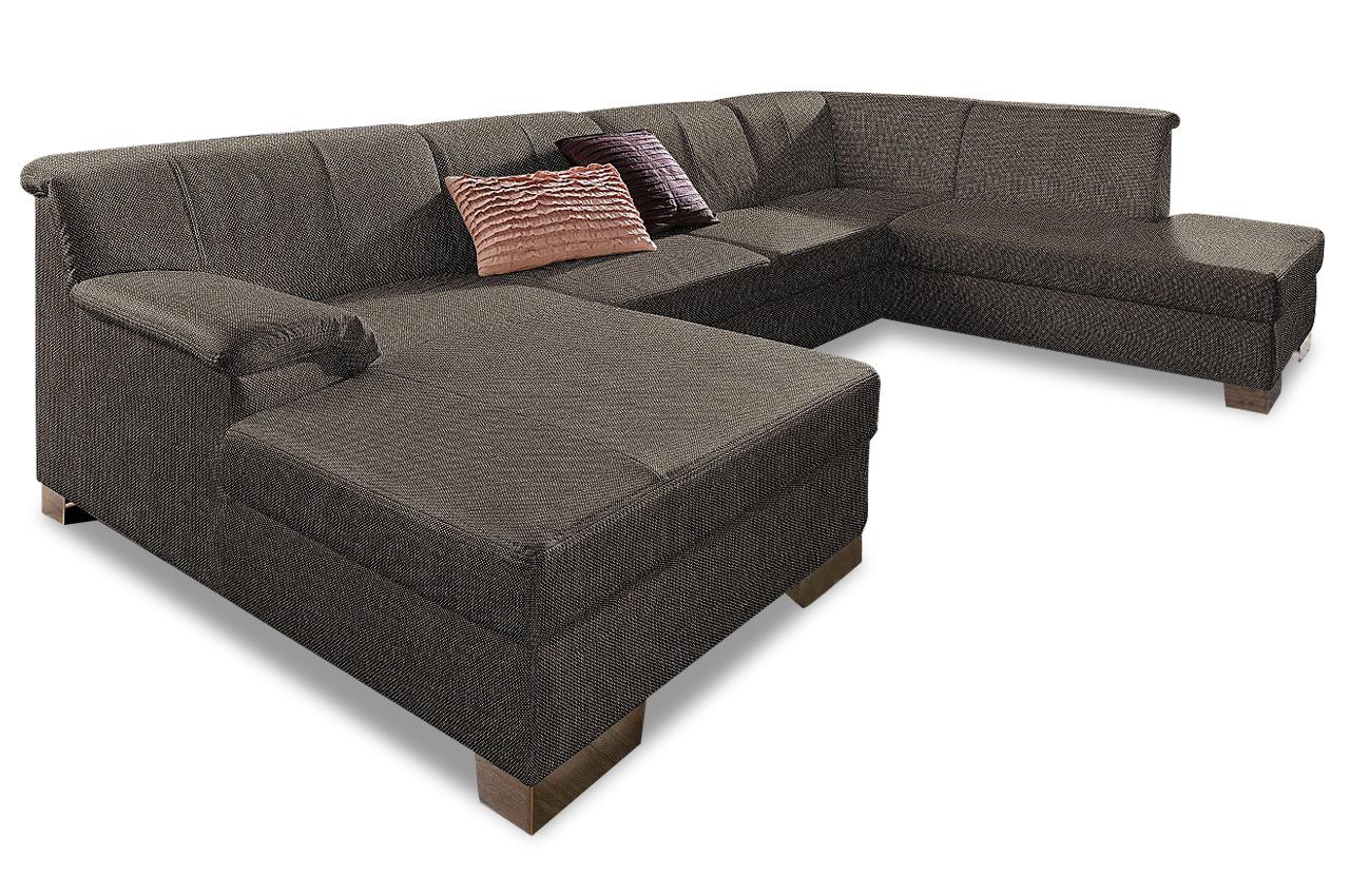 Wohnlandschaft lino braun sofas zum halben preis for Wohnlandschaft braun
