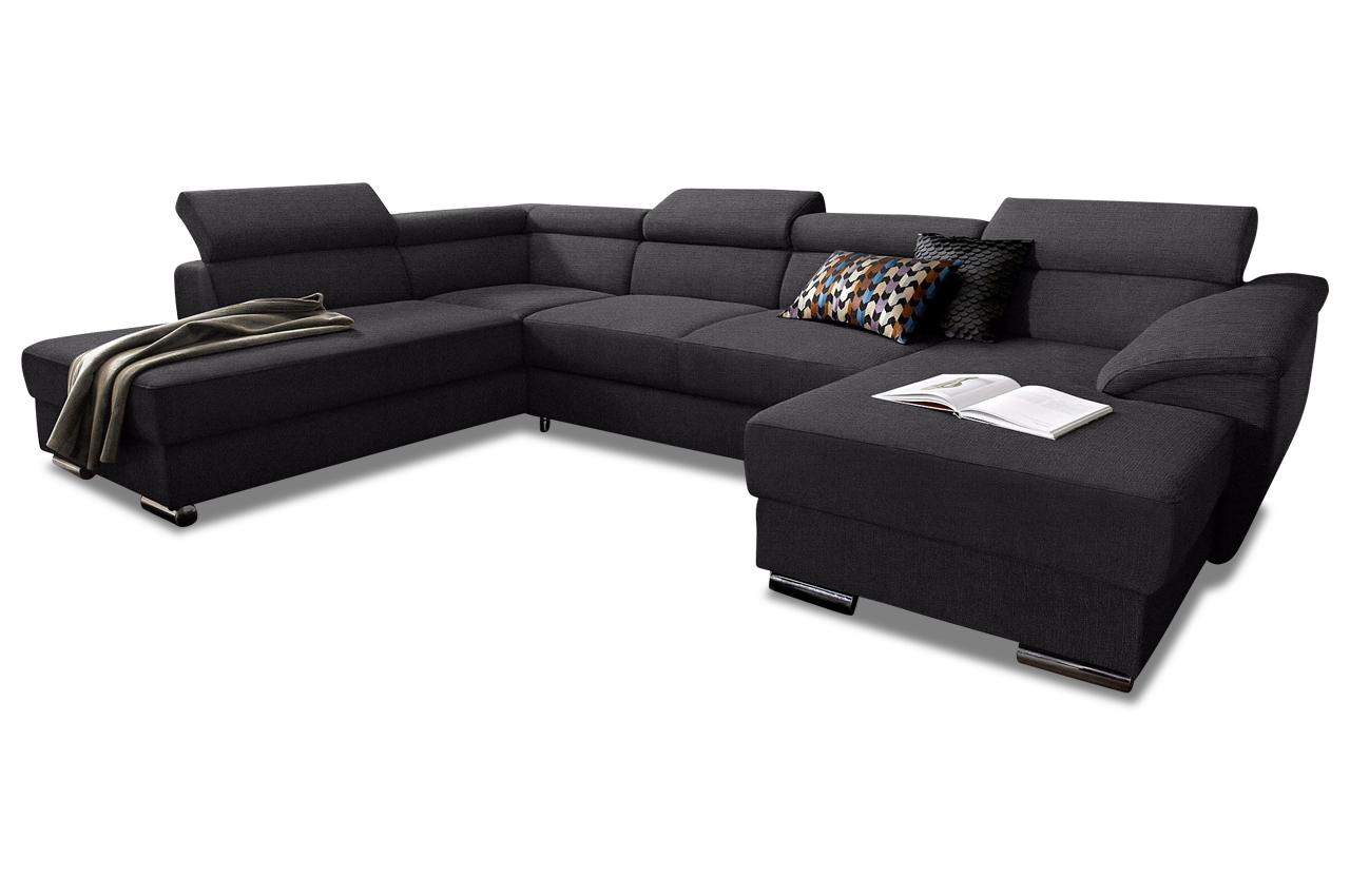 Wohnlandschaft david mit bett stoff sofa couch ecksofa for Wohnlandschaft bett
