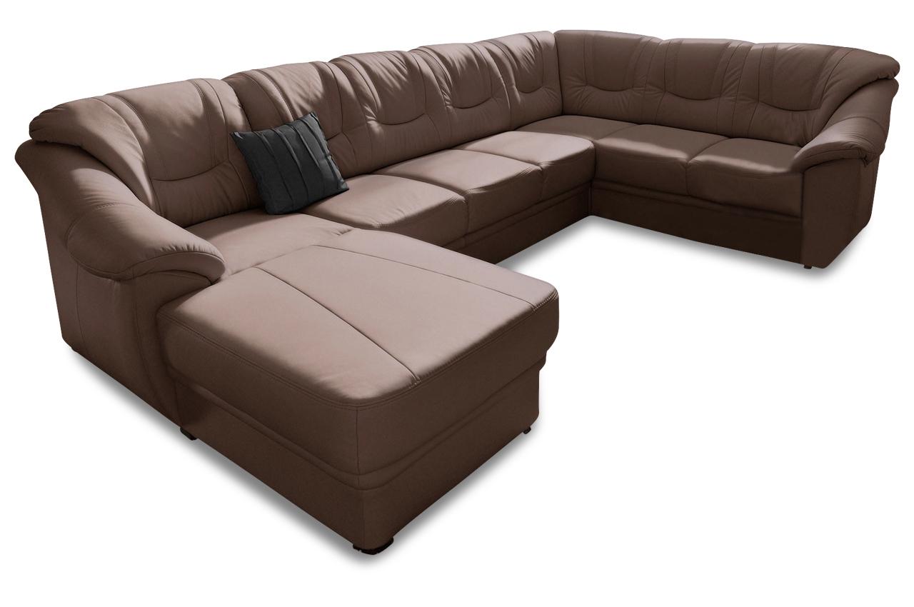 wohnlandschaft savona mit schlaffunktion braun mit federkern sofas zum halben preis. Black Bedroom Furniture Sets. Home Design Ideas