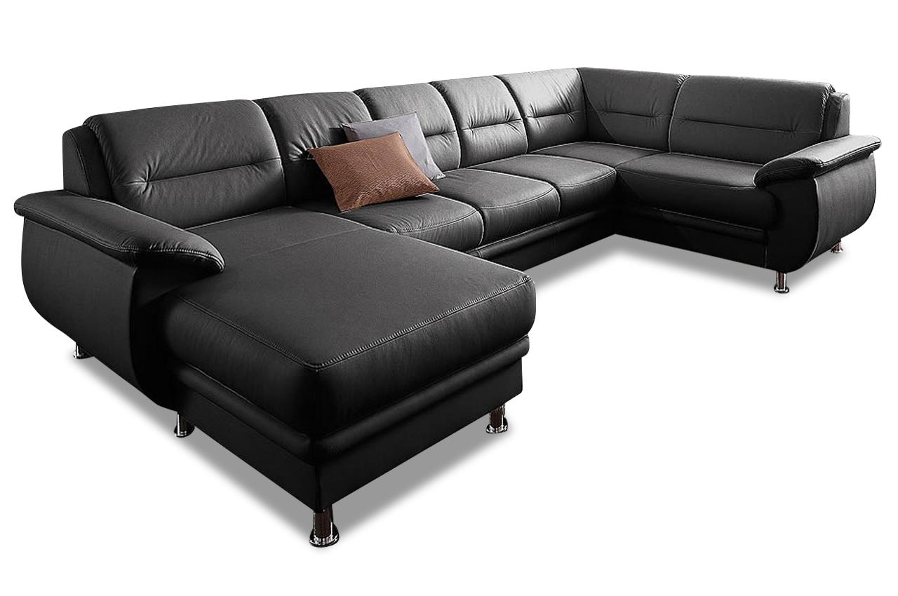 leder wohnlandschaft mailand mit schlaffunktion schwarz sofas zum halben preis. Black Bedroom Furniture Sets. Home Design Ideas