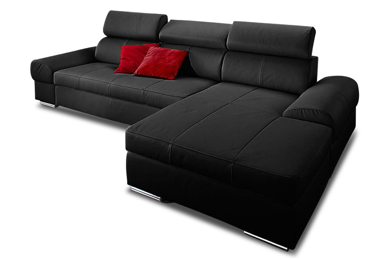 premium leder ecksofa runway mit schlaffunktion schwarz sofas zum halben preis. Black Bedroom Furniture Sets. Home Design Ideas