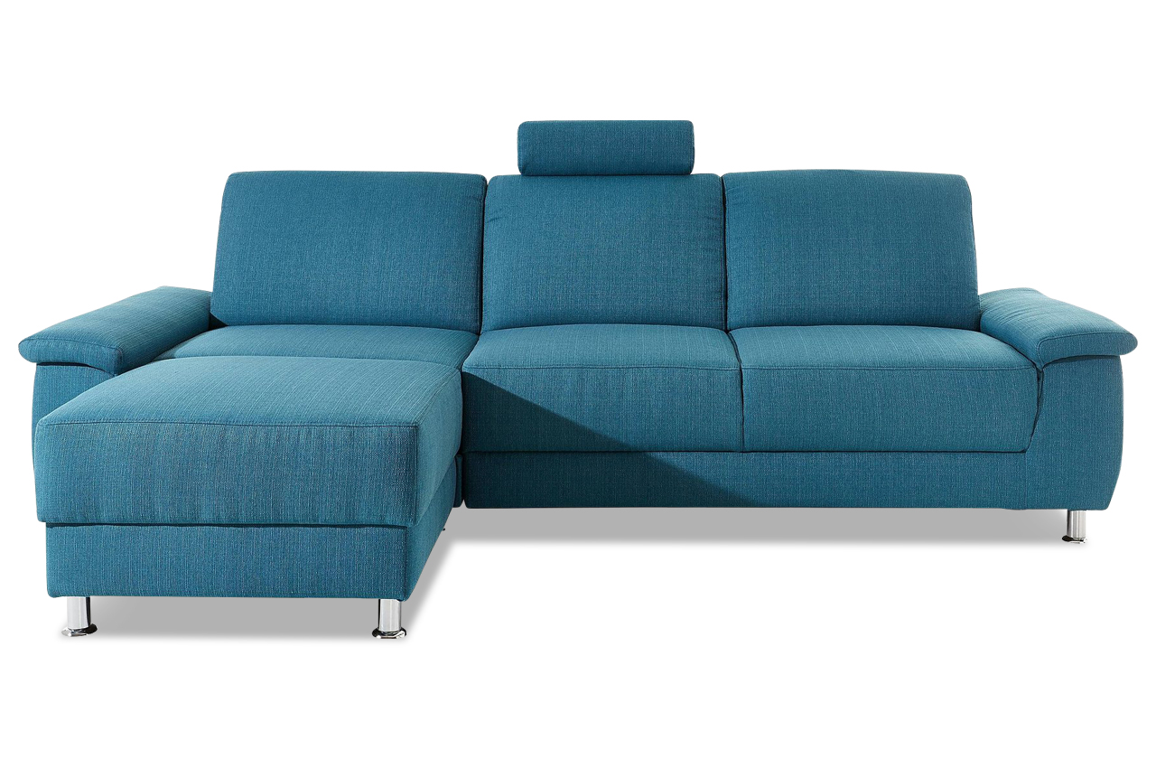 ecksofa monique mit relax blau mit federkern sofas. Black Bedroom Furniture Sets. Home Design Ideas