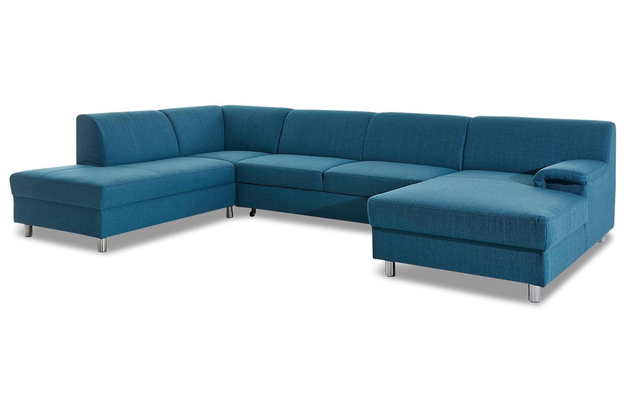 Wohnlandschaft jamie mit schlaffunktion blau sofas for Wohnlandschaft petrol