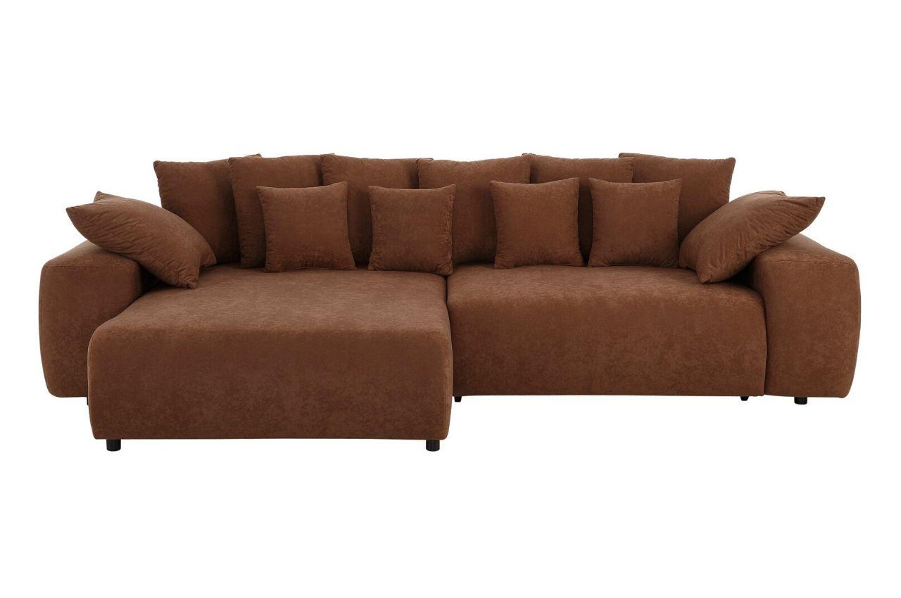 Sofa L-Form Glamour links - mit Schlaffunktion - Braun ...
