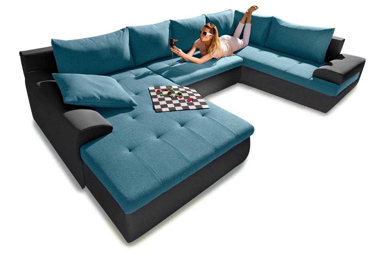 Wohnlandschaft blau sofas zum halben preis for Wohnlandschaft petrol