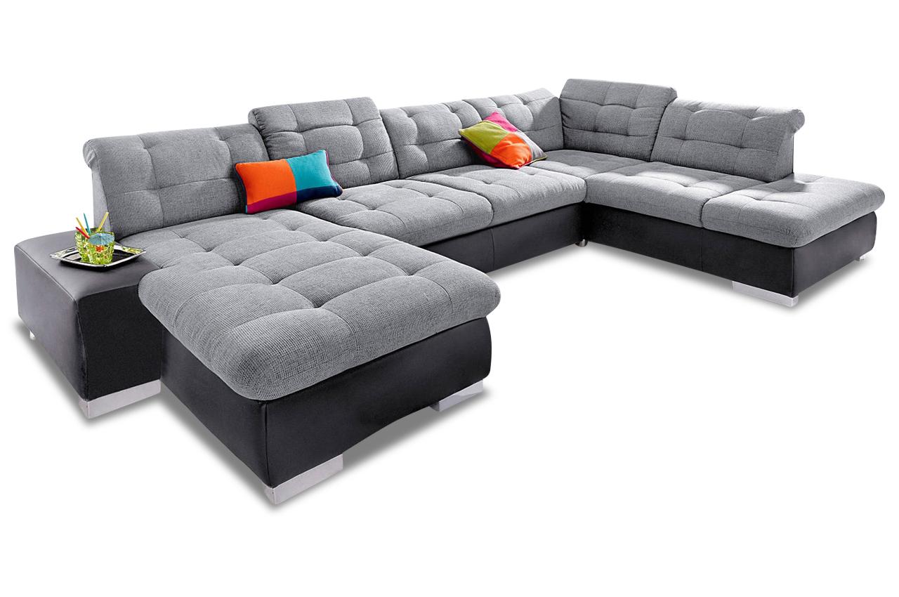wohnlandschaft palomino xxl mit schlaffunktion schwarz. Black Bedroom Furniture Sets. Home Design Ideas