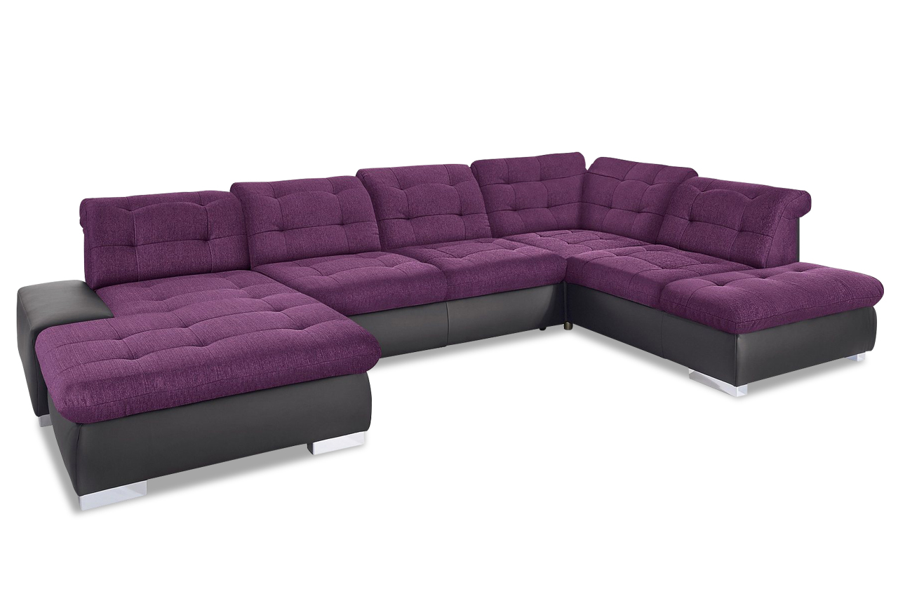 wohnlandschaft palomino xxl mit schlaffunktion violette sofa couch ecksof ebay. Black Bedroom Furniture Sets. Home Design Ideas