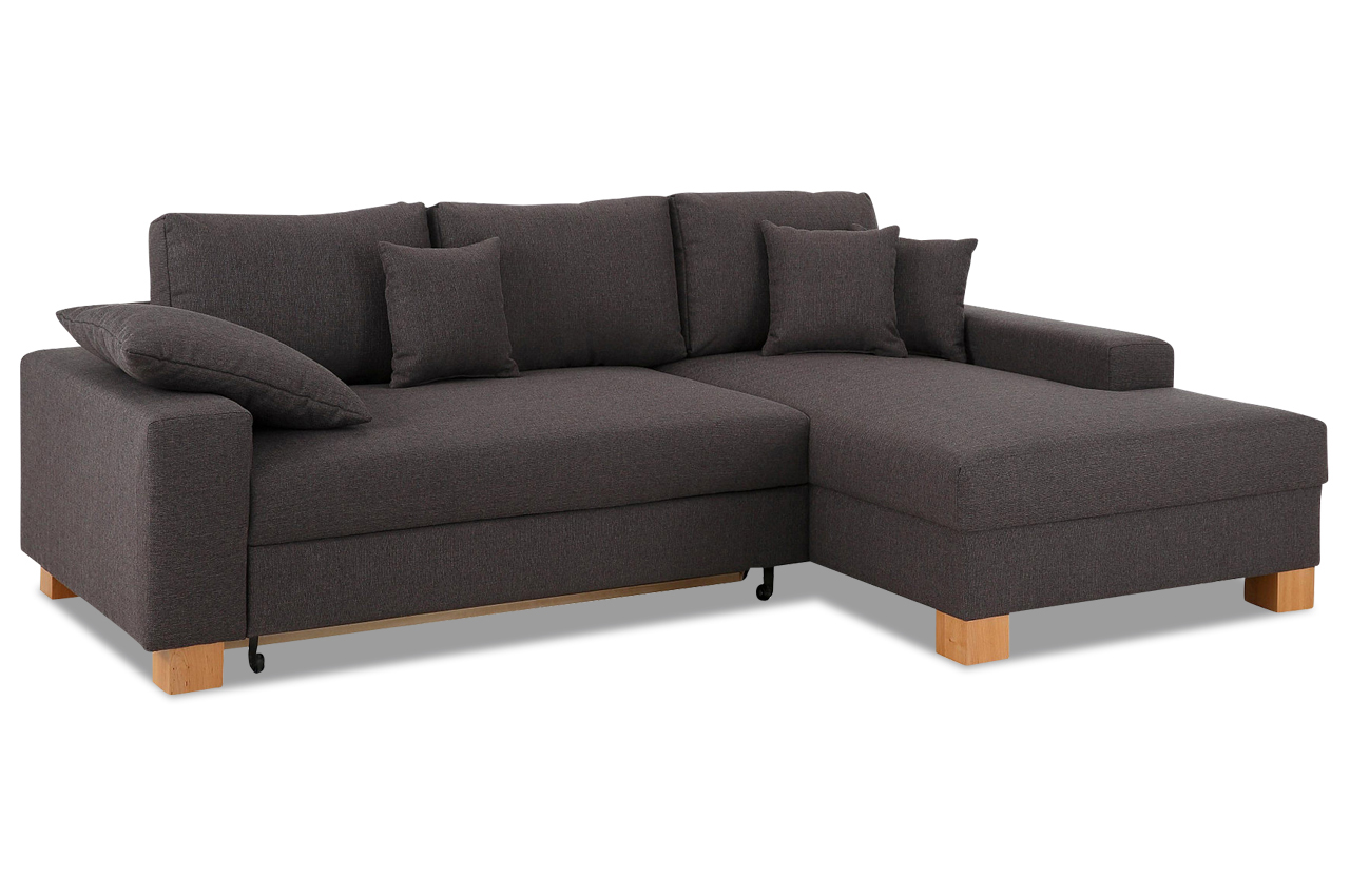 nova via ecksofa norden mit schlaffunktion anthrazit mit federkern sofa c ebay. Black Bedroom Furniture Sets. Home Design Ideas