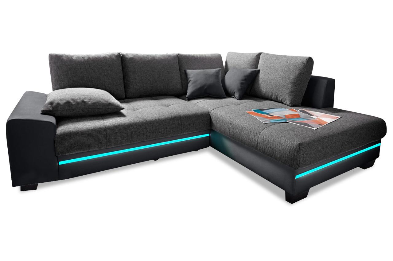 Sofa L-Form rechts - mit Schlaffunktion - Anthrazit ...
