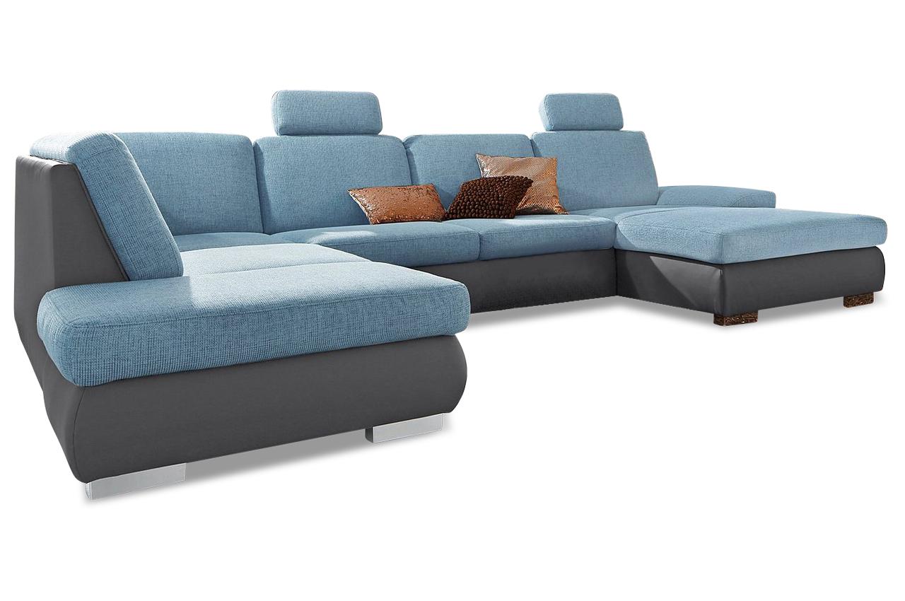 Wohnlandschaft vogue blau sofas zum halben preis for Wohnlandschaft blau