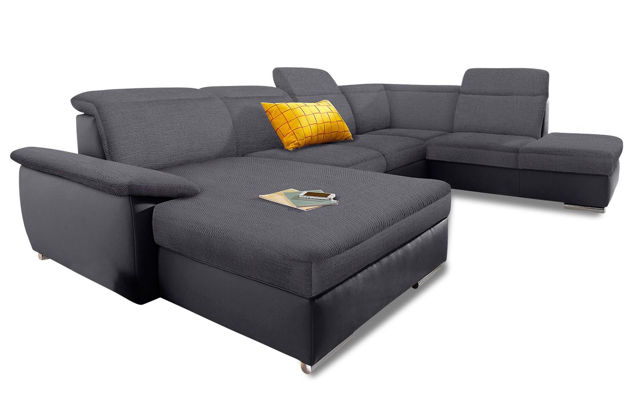 wohnlandschaft maurice mit schlaffunktion grau sofas zum halben preis. Black Bedroom Furniture Sets. Home Design Ideas