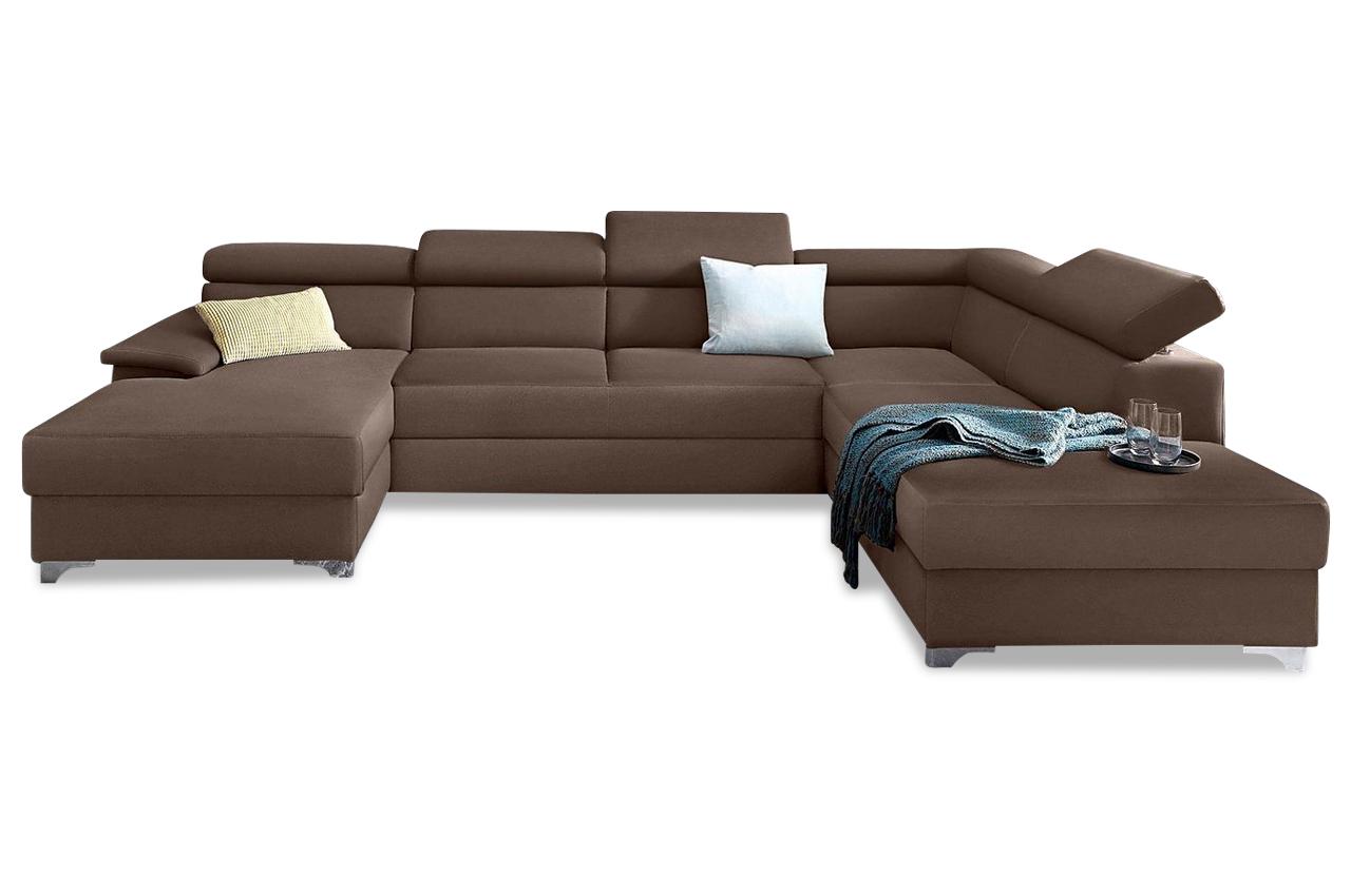 wohnlandschaft niria mit schlaffunktion braun sofas zum halben preis. Black Bedroom Furniture Sets. Home Design Ideas