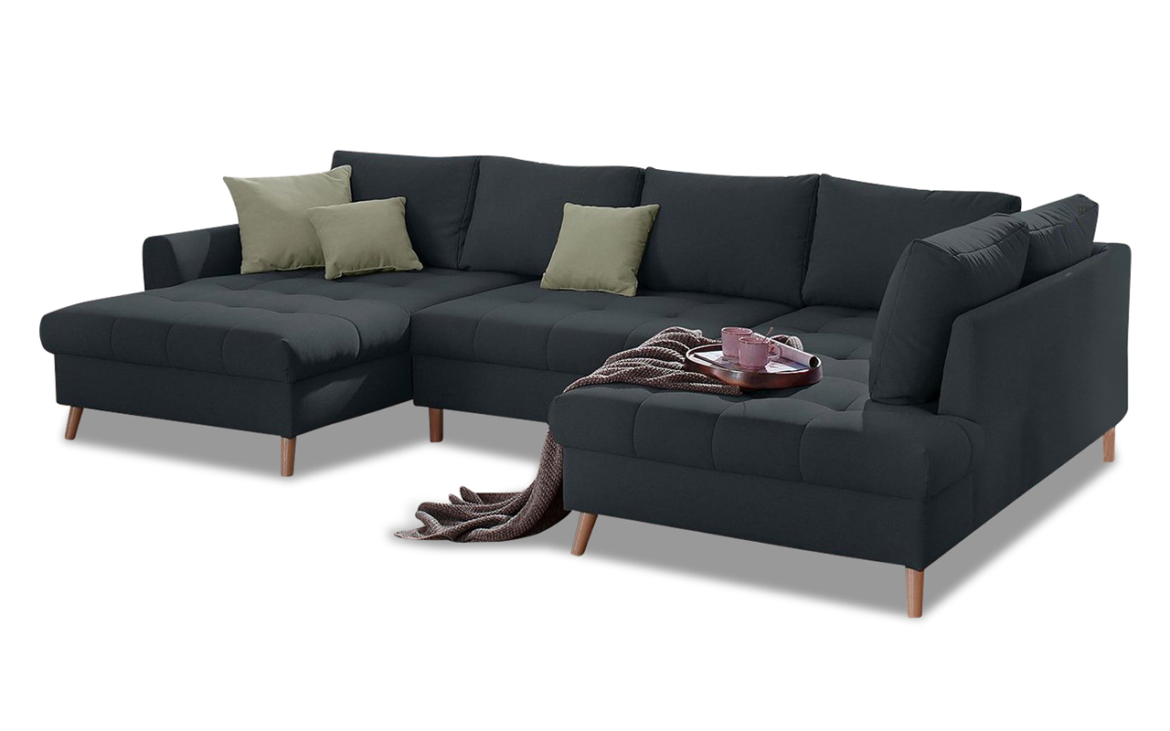 nova via wohnlandschaft fan anthrazit sofa couch ecksofa ebay. Black Bedroom Furniture Sets. Home Design Ideas