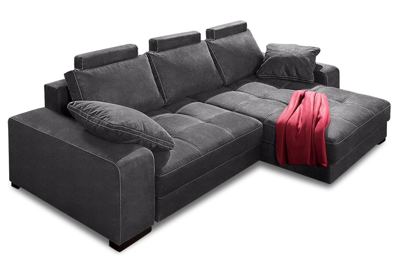 nova via ecksofa diabolo mit schlaffunktion grau mit boxspring sofa couch ebay. Black Bedroom Furniture Sets. Home Design Ideas