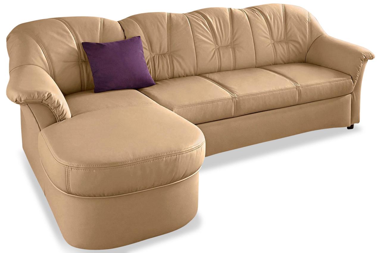 Leder Sofa L-Form Flores links - Beige - Ecksofas | Sofas ...