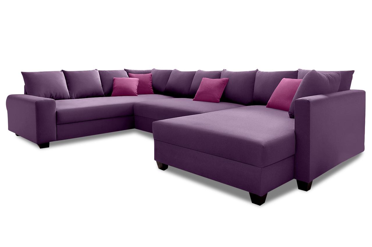 Nova via wohnlandschaft quadro violette mit federkern for Wohnlandschaft mit schlaffunktion federkern