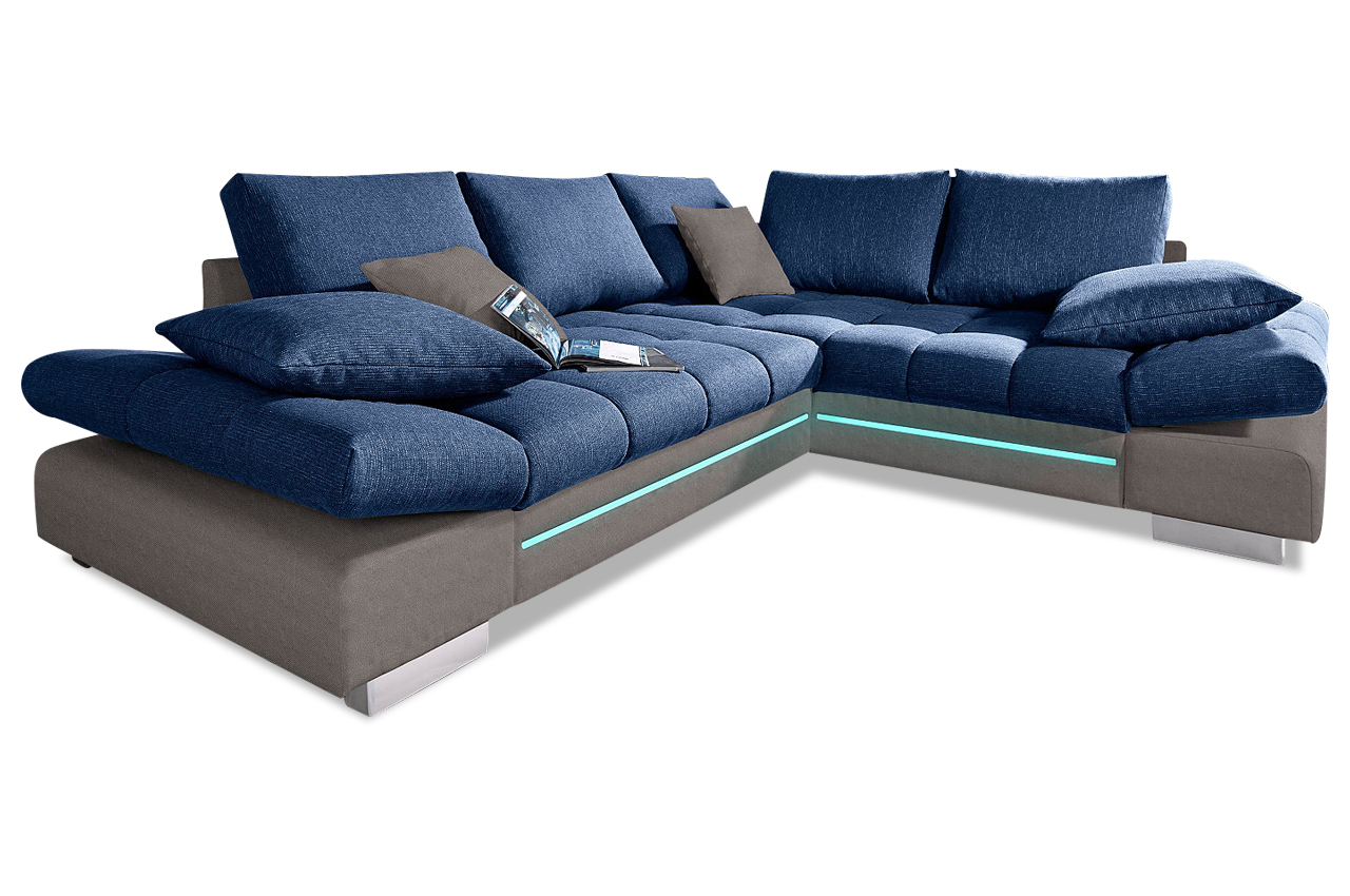 nova via ecksofa xl free port mit led blau sofa couch ecksofa ebay. Black Bedroom Furniture Sets. Home Design Ideas