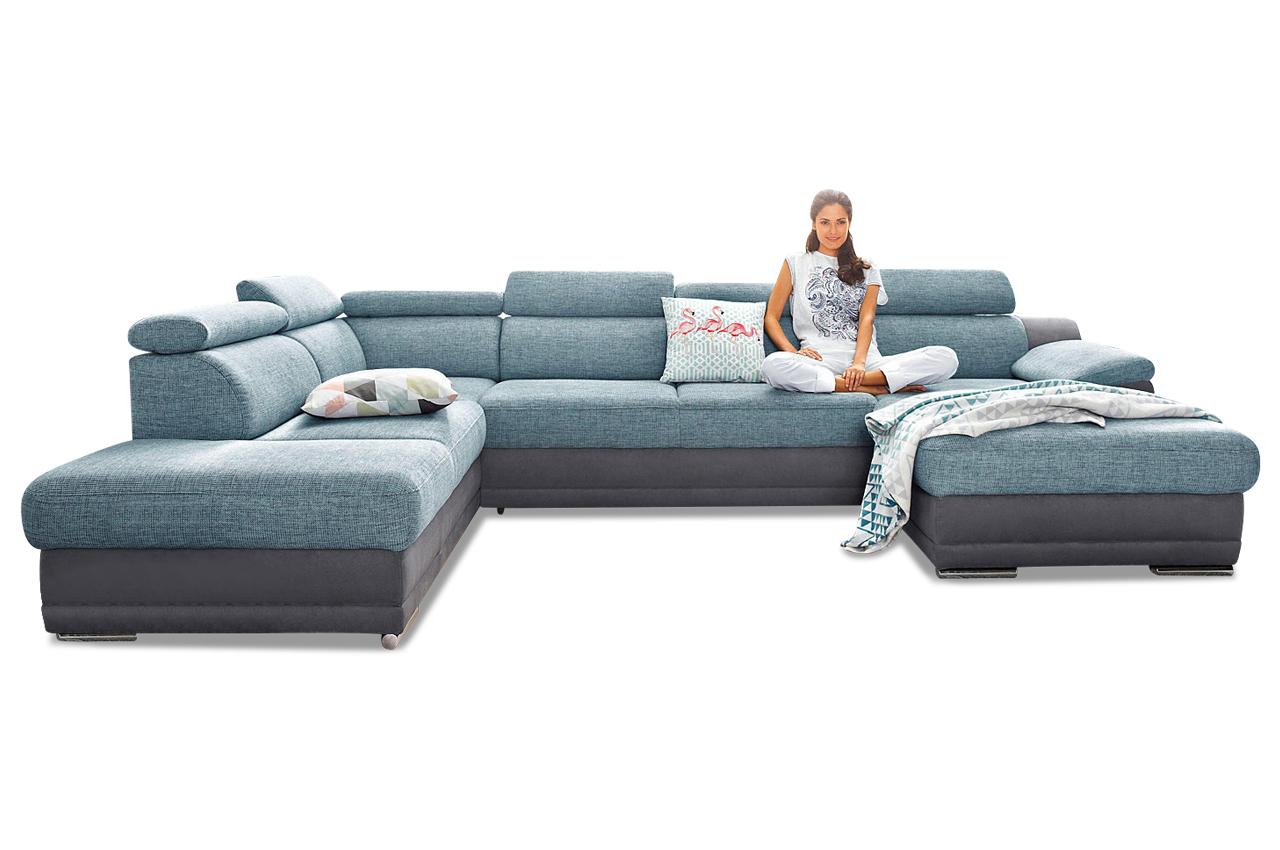 Wohnlandschaft mit schlaffunktion blau sofas zum for Schlafsofa xenia