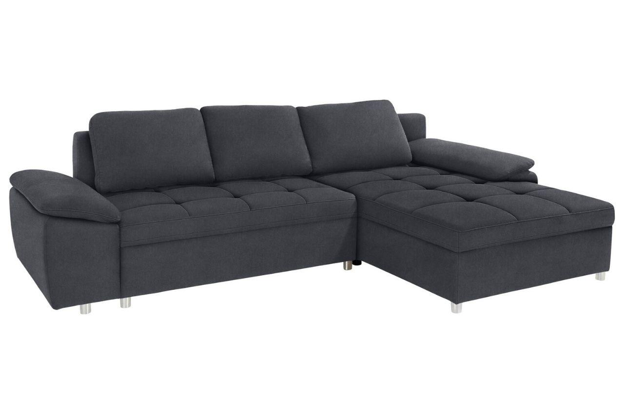 Sofa L-Form links - mit Schlaffunktion - Grau mit ...