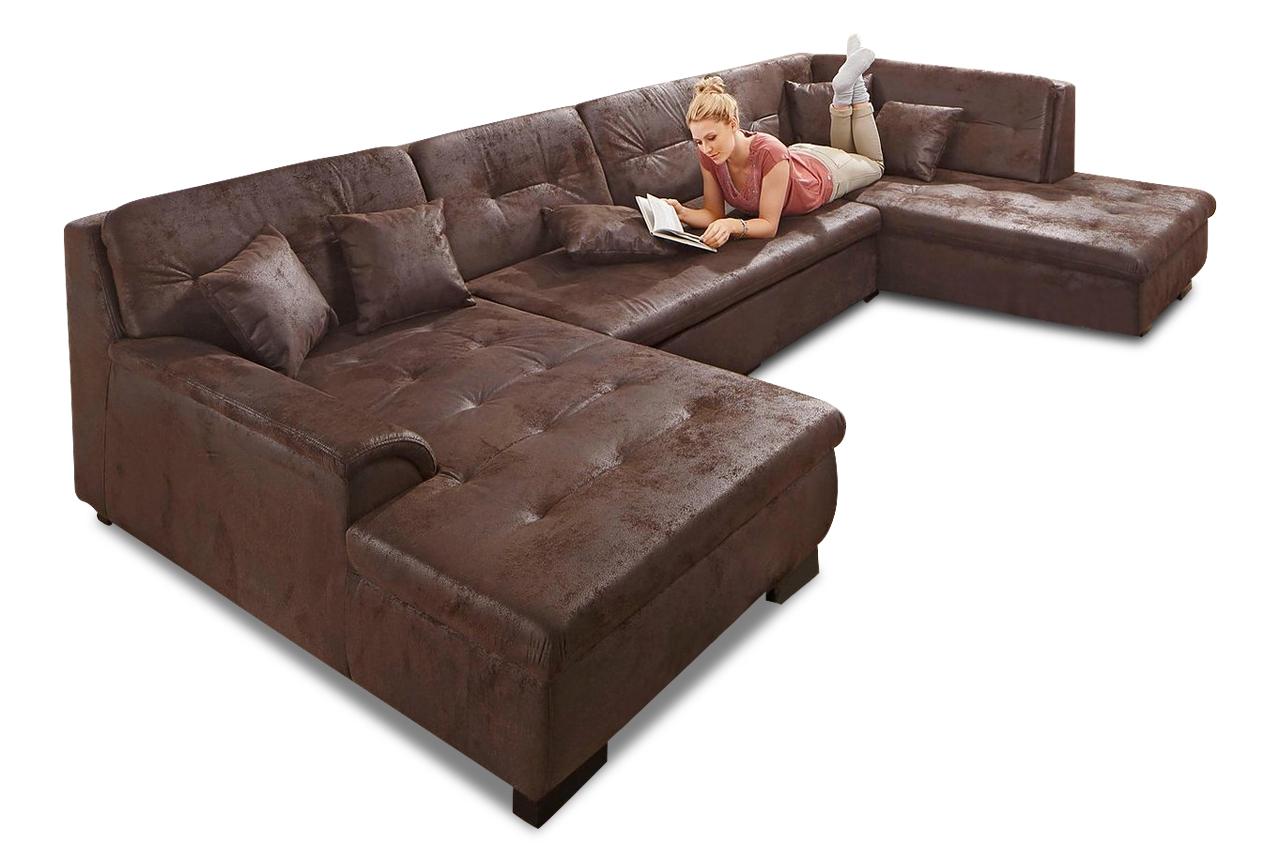 wohnlandschaft frisana mit schlaffunktion braun sofas zum halben preis. Black Bedroom Furniture Sets. Home Design Ideas