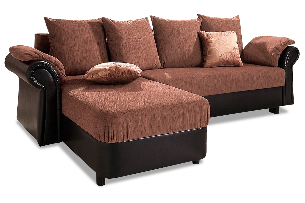 ecksofa carmen mit schlaffunktion braun sofa couch. Black Bedroom Furniture Sets. Home Design Ideas