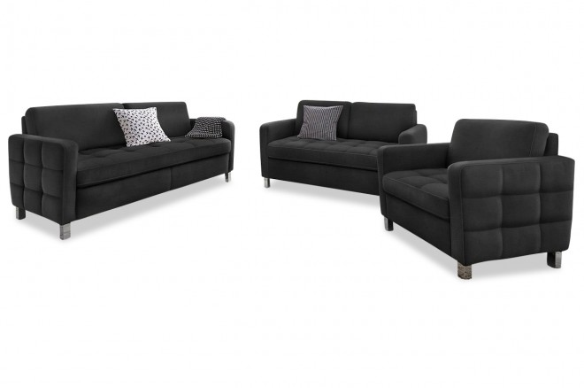 garnitur 3 2 1 schwarz sofas zum halben preis. Black Bedroom Furniture Sets. Home Design Ideas