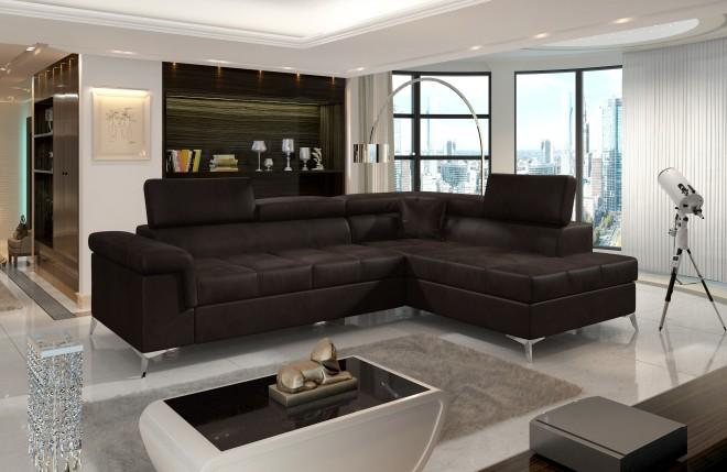Sofa L-Form Eridano rechts - mit Schlaffunktion - Braun
