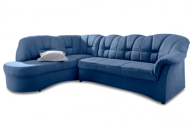 Ecksofa XL Papenburg-O links - mit Schlaffunktion - Blau